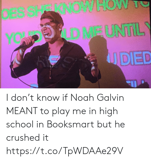 crushed: DESSHRRNOW  OW  D MEUNTIL  YOW P  UDED I don't know if Noah Galvin MEANT to play me in high school in Booksmart but he crushed it https://t.co/TpWDAAe29V