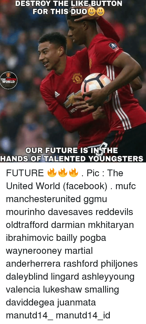 Facebook, Future, and Memes: DESTROY THE LIKE BUTTON  DO  FOR THIS DUO  WORLD  OUR FUTURE IS IN THE  HANDS OF  TALENTED YOUNGSTERS FUTURE 🔥🔥🔥 . Pic : The United World (facebook) . mufc manchesterunited ggmu mourinho davesaves reddevils oldtrafford darmian mkhitaryan ibrahimovic bailly pogba waynerooney martial anderherrera rashford philjones daleyblind lingard ashleyyoung valencia lukeshaw smalling daviddegea juanmata manutd14_ manutd14_id