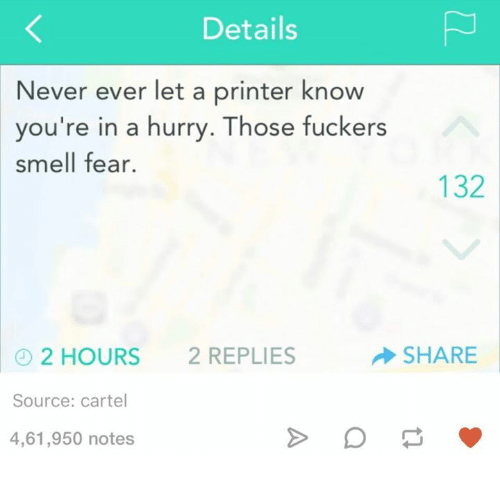 Cartelling: Details  Never ever let a printer know  you're in a hurry. Those fuckers  smell fear.  132  SHARE  2 HOURS  2 REPLIES  Source: cartel  4,61,950 notes