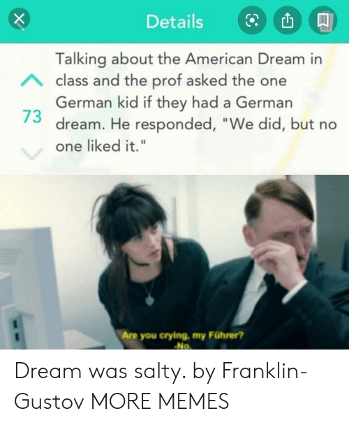 "Franklin: Details  Talking about the American Dream in  Aclass and the prof asked the one  German kid if they had a German  dream. He responded, ""We did, but no  one liked it.""  Are you crying, my Führer?  No Dream was salty. by Franklin-Gustov MORE MEMES"