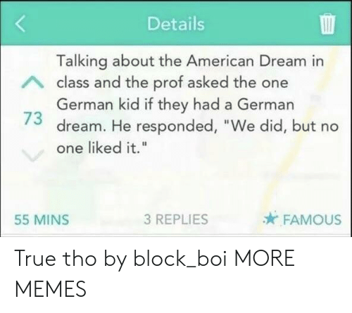 """American Dream: Details  Talking about the American Dream in  class and the prof asked the one  German kid if they had a German  73 dream. He responded, """"We did, but no  one liked it.""""  55 MINS  3 REPLIES  FAMOUS True tho by block_boi MORE MEMES"""