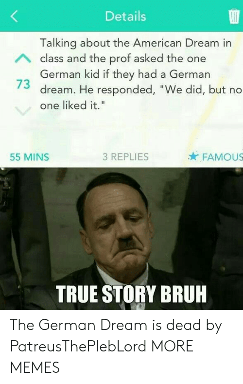 """American Dream: Details  Talking about the American Dream in  German kid if they had a German  one liked it.""""  A class and the prof asked the one  73 dream. He responded, """"We did, but no  55 MINS  3 REPLIES  FAMOUS  TRUE STORY BRUH The German Dream is dead by PatreusThePlebLord MORE MEMES"""