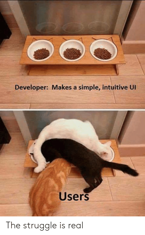 Struggle Is Real: Developer: Makes a simple, intuitive UI  Users The struggle is real