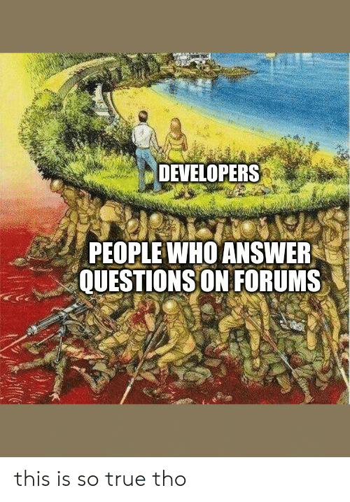 Developers: DEVELOPERS  PEOPLE WHO ANSWER  QUESTIONS ON FORUMS this is so true tho