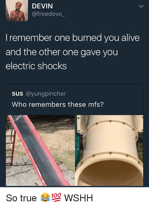 Alive, Memes, and True: DEVIN  @freedevo  I remember one burned you alive  and the other one gave you  electric shocks  Sus @yungpincher  Who remembers these mfs? So true 😂💯 WSHH