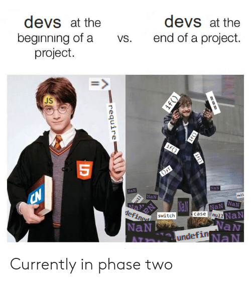 Null: devs at the  beginning of a  project.  devs at the  end of a project.  vs.  JS  NaN  NaN  NaN  null  NaN Currently in phase two