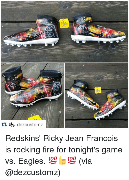Fire, Sports, and Eagle: dezcustomz  DEZ CUSTOM Z Redskins' Ricky Jean Francois is rocking fire for tonight's game vs. Eagles. 💯👍💯 (via @dezcustomz)