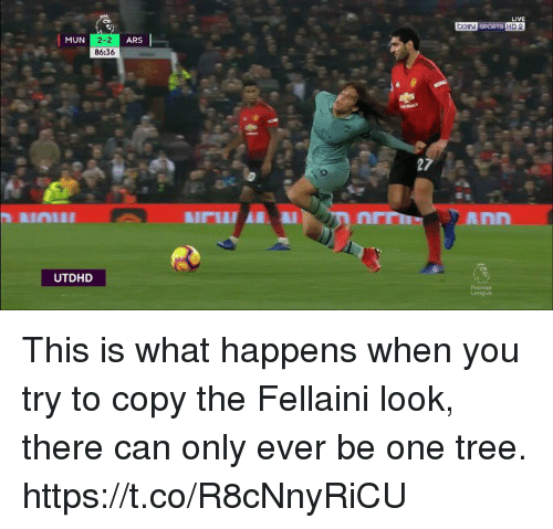 fellaini: DGIN SPORTS HD 2  MUN  2-2  86:36  ARS  Ann  UTDHD This is what happens when you try to copy the Fellaini look, there can only ever be one tree. https://t.co/R8cNnyRiCU