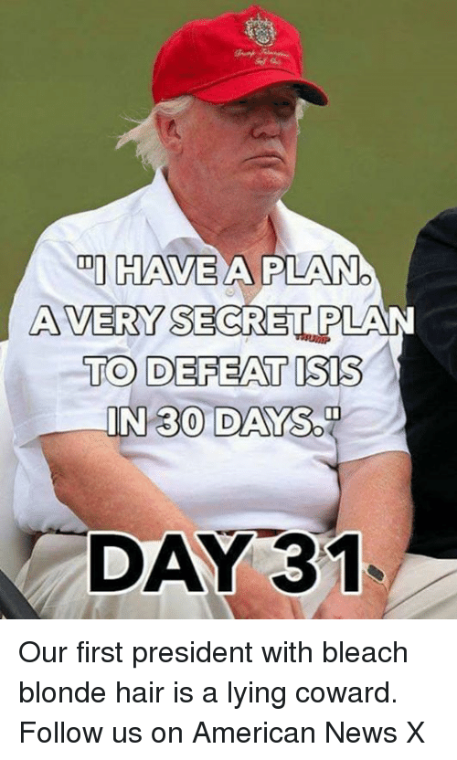 Sodding: DI HAVE  A PILANO  AVERY SECRET PLAN  TO DEFEAT ISIS  IN 30 DAY  SOD  DAY 31 Our first president with bleach blonde hair is a lying coward. Follow us on American News X