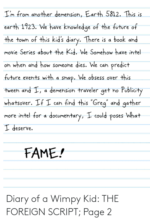 wimpy kid: Diary of a Wimpy Kid: THE FOREIGN SCRIPT; Page 2