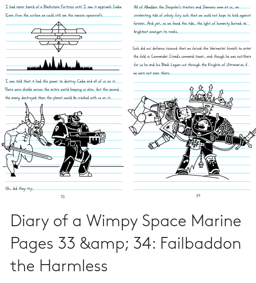 wimpy: Diary of a Wimpy Space Marine Pages 33 & 34: Failbaddon the Harmless