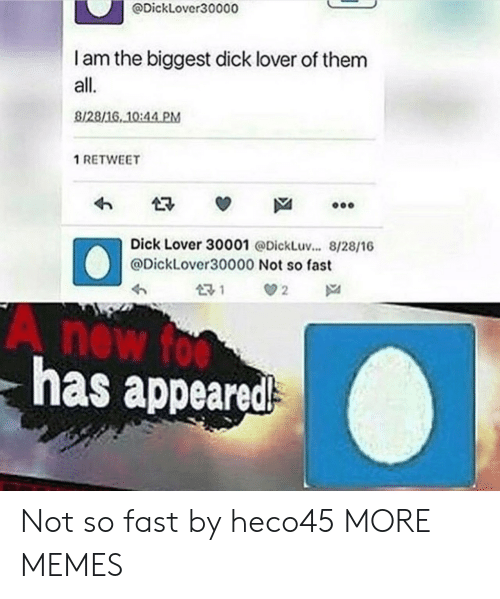 Biggest Dick: @Dicklover30000  I am the biggest dick lover of them  all.  8128/16, 10:44 PM  1 RETWEET  Dick Lover 30001 @DickLuv... 8/28/16  @DickLover30000 Not so fast  has appeared Not so fast by heco45 MORE MEMES