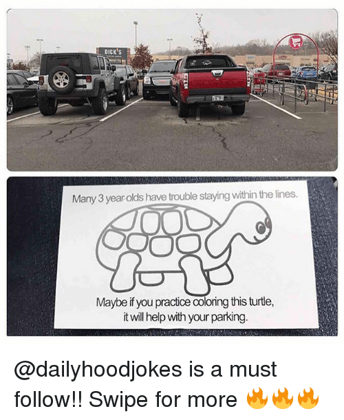 Dicks, Memes, and Help: DICK's  Many 3 year olds have trouble staying within the lines  Maybe ifyou practice Coloing this turtle,  it will help with your parking. @dailyhoodjokes is a must follow!! Swipe for more 🔥🔥🔥