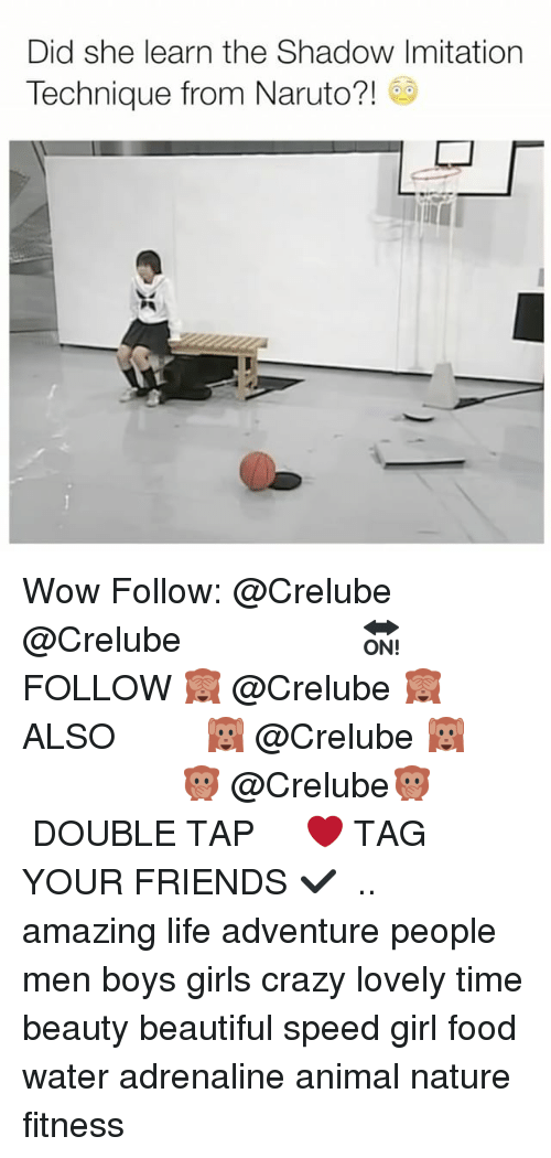 imitation: Did she learn the Shadow Imitation  Technique from Naruto?! Wow Follow: @Crelube ⠀⠀⠀⠀ ⠀@Crelube ⠀⠀⠀⠀ ⠀⠀ ⠀⠀⠀⠀⠀ ⠀⠀🔛FOLLOW 🙈 @Crelube 🙈 ⠀⠀⠀⠀ ⠀⠀⠀⠀⠀⠀ALSO ⠀ 🙉 @Crelube 🙉 ⠀ ⠀⠀ ⠀ ⠀ ⠀ ⠀ ⠀ ⠀⠀⠀⠀⠀ 🙊 @Crelube🙊 ⠀⠀⠀⠀ ⠀ ⠀⠀⠀⠀ DOUBLE TAP ❤️ TAG YOUR FRIENDS ✔️ ⠀⠀⠀⠀ .. amazing life adventure people men boys girls crazy lovely time beauty beautiful speed girl food water adrenaline animal nature fitness
