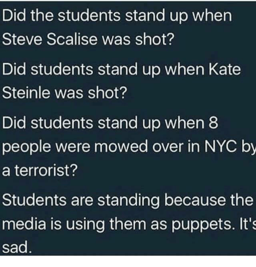 Memes, Sad, and 🤖: Did the students stand up when  Steve Scalise was shot?  Did students stand up when Kate  Steinle was shot?  Did students stand up when8  people were mowed over in NYC by  a terrorist?  Students are standing because the  media is using them as puppets. It's  sad