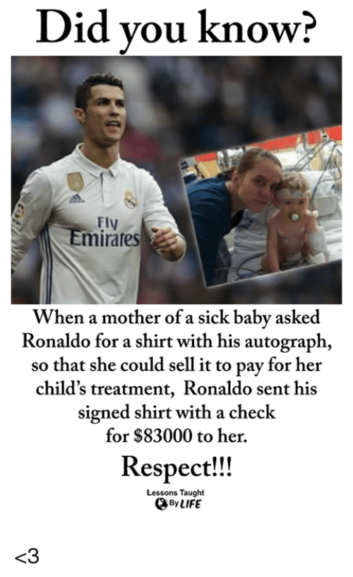 autograph: Did vou know?  Fly  mirares  When a mother of a sick baby asked  Ronaldo for a shirt with his autograph,  so that she could sell it to pay for her  child's treatment, Ronaldo sent his  signed shirt with a check  for $83000 to her.  Respect!!  Lessons Taught  By LIFE <3
