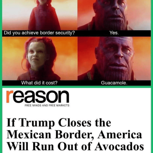 the mexican: Did you achieve border security?  Yes  What did it cost?  Guacamole.  reason  FREE MINDS AND FREE MARKETS  If Trump Closes the  Mexican Border, America  Will Run Out of Avocados