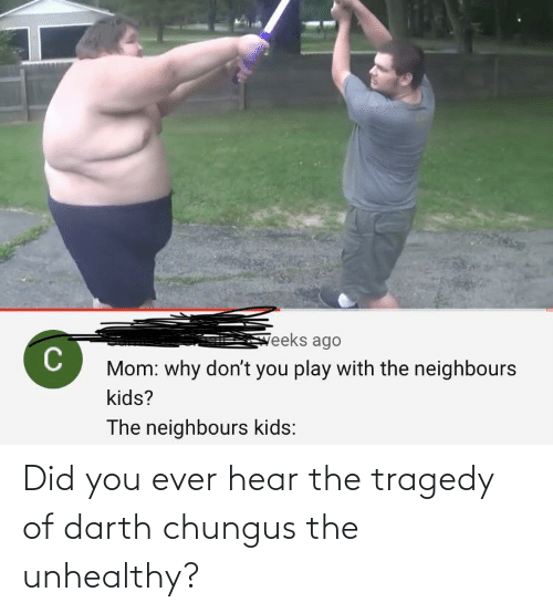 darth: Did you ever hear the tragedy of darth chungus the unhealthy?