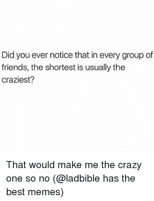 Crazy, Friends, and Memes: Did you ever notice that in every group of  friends, the shortest is usually the  craziest? That would make me the crazy one so no (@ladbible has the best memes)