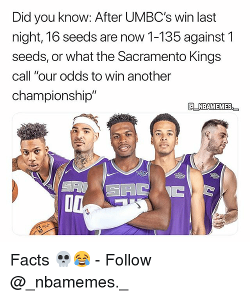 "Facts, Memes, and Sacramento Kings: Did you know: After UMBC's win last  night, 16 seeds are now 1-135 against 1  seeds, or what the Sacramento Kings  call ""our odds to win another  championship"" Facts 💀😂 - Follow @_nbamemes._"
