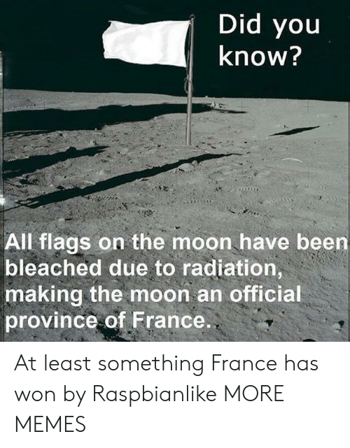 flags: Did you  Know?  All flags on the moon have been  bleached due to radiation,  making the moon an officia  province of France At least something France has won by Raspbianlike MORE MEMES