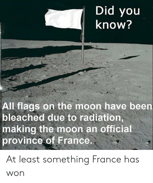 flags: Did you  know?  All flags on the moon have been  bleached due to radiation,  making the moon an official  province of France. At least something France has won