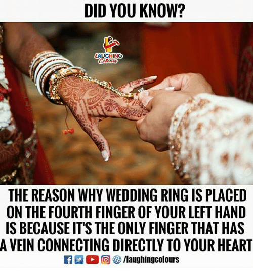 wedding ring: DID YOU KNOW?  AUGHING  THE REASON WHY WEDDING RING IS PLACED  ON THE FOURTH FINGER OF YOUR LEFT HAND  IS BECAUSE ITS THE ONLY FINGER THAT HAS  A VEIN CONNECTING DIRECTLY TO YOUR HEART