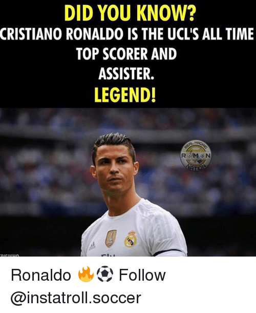 Cristiano Ronaldo, Memes, and Soccer: DID YOU KNOW?  CRISTIANO RONALDO IS THE UCL'S ALL TIME  TOP SCORER AND  ASSISTER.  LEGEND! Ronaldo 🔥⚽️ Follow @instatroll.soccer