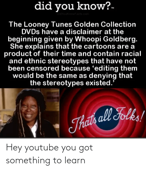 Whoopi Goldberg: did you know?-  DidYoukinowFacta.com  The Looney Tunes Golden Collection  DVDS have a disclaimer at the  beginning given by Whoopi Goldberg.  She explains that the cartoons are a  product of their time and contain racial  and ethnic stereotypes that have not  been censored because 'editing them  would be the same as denying that  the stereotypes existed.  Thats all Folks! Hey youtube you got something to learn