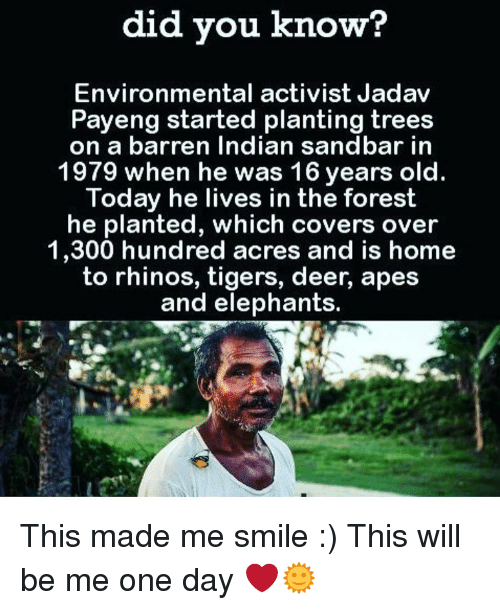 barren: did you know?  Environmental activist Jadav  Payeng started planting trees  on a barren Indian sandbar in  1979 when he was 16 years old.  Today he lives in the forest  he planted, which covers over  1,300 hundred acres and is home  to rhinos, tigers, deer, apes  and elephants. This made me smile :) This will be me one day ❤️🌞