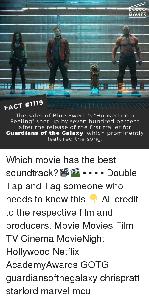 """Guardians of the Galaxy: DID YOU KNow  FACT #1119  The sales of Blue Swede's """"Hooked on a  Feeling"""" shot up by seven hundred percent  after the release of the first trailer for  Guardians of the Galaxy. which prominently  featured the song Which movie has the best soundtrack?📽️🎬 • • • • Double Tap and Tag someone who needs to know this 👇 All credit to the respective film and producers. Movie Movies Film TV Cinema MovieNight Hollywood Netflix AcademyAwards GOTG guardiansofthegalaxy chrispratt starlord marvel mcu"""