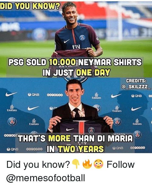Soldes: DID YOU KNOW?  Fl  PSG SOLD 10.000 NEYMAR SHIRTS  IN JUST ONE DAY  CREDITS:  SKILZZZ  es  rates  Emitates  Emirates  ates  THATS MORE THAN DI MARIA  IN TWOYEARS Did you know?👇🔥😳 Follow @memesofootball