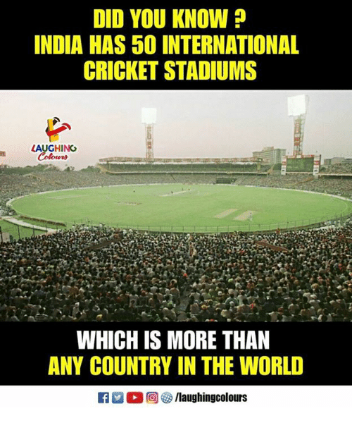 Cricket, India, and World: DID YOU KNOW  INDIA HAS 50 INTERNATIONAL  CRICKET STADIUMS  LAUGHINO  WHICH IS MORE THAN  ANY COUNTRY IN THE WORLD