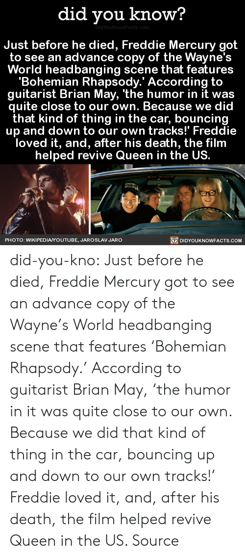 Headbanging: did you know?  Just before he died, Freddie Mercury got  to see an advance copy of the Wayne's  World headbanging scene that features  'Bohemian Rhapsody.' According to  guitarist Brian May, 'the humor in it was  quite close to our own. Because we did  that kind of thing in the car, bouncing  up and down to our own tracks!' Freddie  loved it, and, after his death, the film  helped revive Queen in the US.  PHOTO: WIKIPEDIAYOUTUBE, JAROSLAV JARO  回DIDYOUKNOWFACTS.COM did-you-kno:  Just before he died, Freddie Mercury got  to see an advance copy of the Wayne's  World headbanging scene that features  'Bohemian Rhapsody.' According to  guitarist Brian May, 'the humor in it was  quite close to our own. Because we did  that kind of thing in the car, bouncing  up and down to our own tracks!' Freddie  loved it, and, after his death, the film  helped revive Queen in the US.  Source
