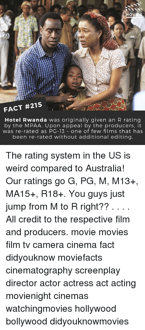 knowing movie: DID YOU KNOW  MOVI  FACT #215  Hotel Rwanda was originally given an R rating  by the MPAA. Upon appeal by the producers, it  was re-rated as PG-13 one of few films that has  been re-rated without additional editing. The rating system in the US is weird compared to Australia! Our ratings go G, PG, M, M13+, MA15+, R18+. You guys just jump from M to R right?? . . . . All credit to the respective film and producers. movie movies film tv camera cinema fact didyouknow moviefacts cinematography screenplay director actor actress act acting movienight cinemas watchingmovies hollywood bollywood didyouknowmovies