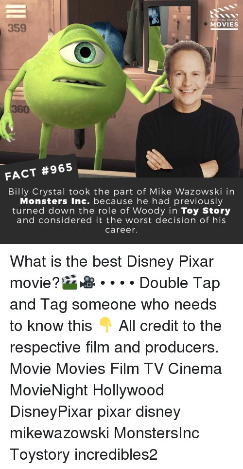 Monsters Inc: DID YOU KNOW  MOVIES  359  360  FACT #965  Billy Crystal took the part of Mike Wazowski in  Monsters Inc. because he had previously  turned down the role of Woody in Toy Story  and considered it the worst decision of his  career. What is the best Disney Pixar movie?🎬🎥 • • • • Double Tap and Tag someone who needs to know this 👇 All credit to the respective film and producers. Movie Movies Film TV Cinema MovieNight Hollywood DisneyPixar pixar disney mikewazowski MonstersInc Toystory incredibles2