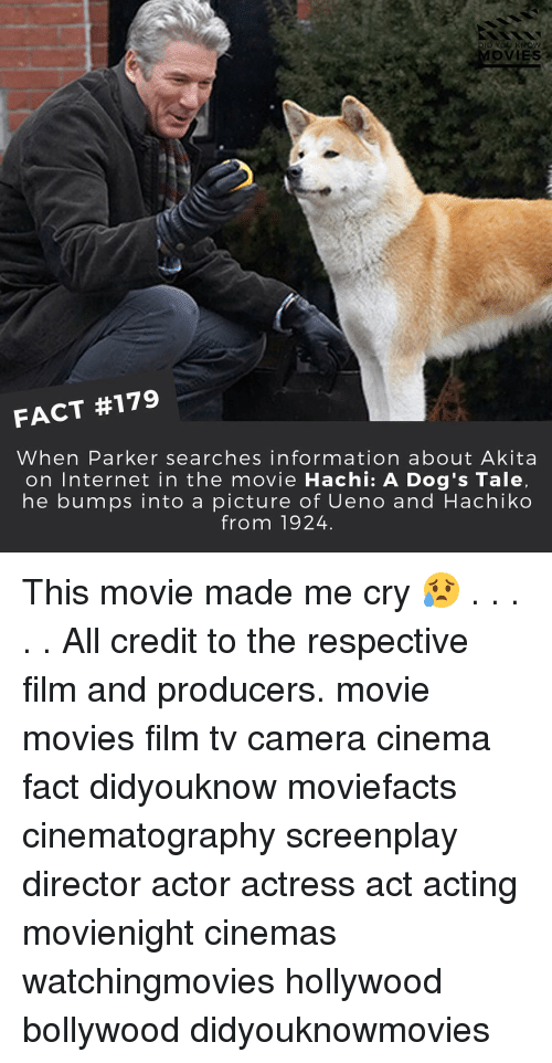 akita: DID YOU KNOW  MOVIES a  FACT #179  When Parker searches information about Akita  on Internet in the movie Hachi: A Dog's Tale,  he bumps into a picture of Ueno and Hachiko  from 1924 This movie made me cry 😥 . . . . . All credit to the respective film and producers. movie movies film tv camera cinema fact didyouknow moviefacts cinematography screenplay director actor actress act acting movienight cinemas watchingmovies hollywood bollywood didyouknowmovies