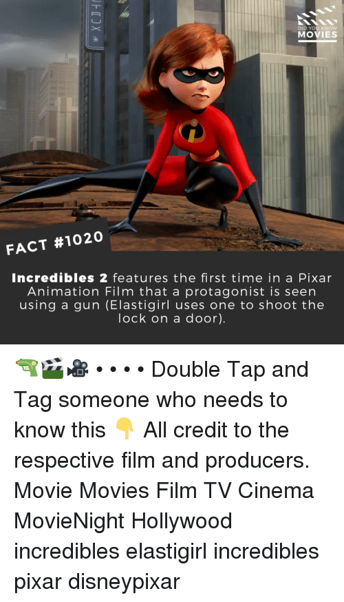 incredibles: DID YOU KNOW  MOVIES  FACT #1020  Incredibles 2 features the first time in a Pixar  Animation Film that a protagonist is seen  using a gun (Elastigirl uses one to shoot the  lock on a door). 🔫🎬🎥 • • • • Double Tap and Tag someone who needs to know this 👇 All credit to the respective film and producers. Movie Movies Film TV Cinema MovieNight Hollywood incredibles elastigirl incredibles pixar disneypixar