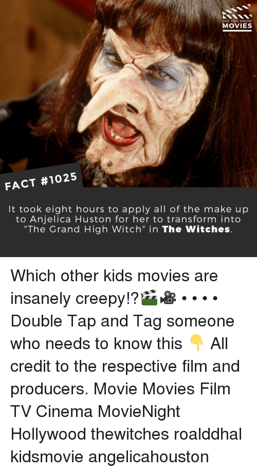 """Insanely: DID YOU KNOW  MOVIES  FACT #1025  It took eight hours to apply all of the make up  to Anjelica Huston for her to transform into  """"The Grand High Witch"""" in The Witches Which other kids movies are insanely creepy!?🎬🎥 • • • • Double Tap and Tag someone who needs to know this 👇 All credit to the respective film and producers. Movie Movies Film TV Cinema MovieNight Hollywood thewitches roalddhal kidsmovie angelicahouston"""
