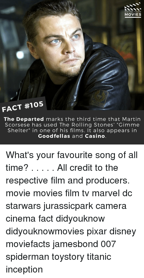 """Rolling Stone: DID YOU KNOW  MOVIES  FACT #105  The Departed marks the third time that Martin  Scorsese has used The Rolling Stones' """"Gimme  Shelter"""" in one of his films. It also appears in  Goodfellas and Casino What's your favourite song of all time? . . . . . All credit to the respective film and producers. movie movies film tv marvel dc starwars jurassicpark camera cinema fact didyouknow didyouknowmovies pixar disney moviefacts jamesbond 007 spiderman toystory titanic inception"""