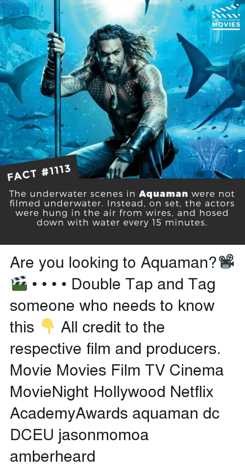 Memes, Movies, and Netflix: DID YOU KNOW  MOVIES  FACT #1113  The underwater scenes in Aquaman were not  filmed underwater. Instead, on set, the actors  were hung in the air from wires, and hosed  down with water every 15 minutes Are you looking to Aquaman?📽️🎬 • • • • Double Tap and Tag someone who needs to know this 👇 All credit to the respective film and producers. Movie Movies Film TV Cinema MovieNight Hollywood Netflix AcademyAwards aquaman dc DCEU jasonmomoa amberheard