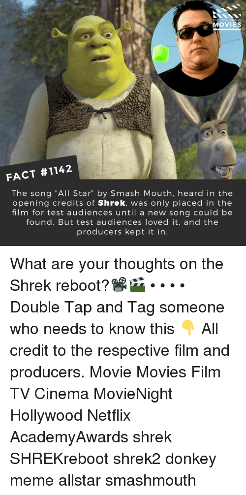 "Opening Credits: DID YOU KNOW  MOVIES  FACT #1142  The song ""All Star"" by Smash Mouth, heard in the  opening credits of Shrek, was only placed in the  film for test audiences until a new song could be  found. But test audiences loved it, and the  producers kept it in What are your thoughts on the Shrek reboot?📽️🎬 • • • • Double Tap and Tag someone who needs to know this 👇 All credit to the respective film and producers. Movie Movies Film TV Cinema MovieNight Hollywood Netflix AcademyAwards shrek SHREKreboot shrek2 donkey meme allstar smashmouth"