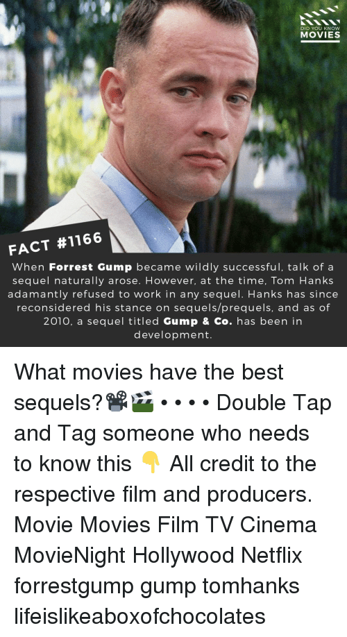 Forrest Gump: DID YOU KNow  MOVIES  FACT #1166  When Forrest Gump became wildly successful, talk of a  sequel naturally arose. However, at the time, Tom Hanks  adamantly refused to work in any sequel. Hanks has since  reconsidered his stance on sequels/prequels, and as of  2010, a sequel titled Gump & Co. has been in  development. What movies have the best sequels?📽️🎬 • • • • Double Tap and Tag someone who needs to know this 👇 All credit to the respective film and producers. Movie Movies Film TV Cinema MovieNight Hollywood Netflix forrestgump gump tomhanks lifeislikeaboxofchocolates