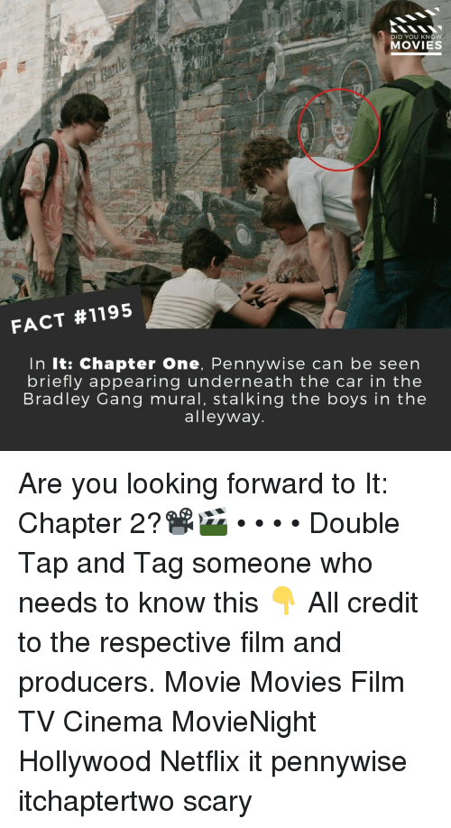 Appearing: DID YOU KNOw  MOVIES  FACT #1195  In It: Chapter One, Pennywise can be seen  briefly appearing underneath the car in the  Bradley Gang mural, stalking the boys in the  alleyway Are you looking forward to It: Chapter 2?📽️🎬 • • • • Double Tap and Tag someone who needs to know this 👇 All credit to the respective film and producers. Movie Movies Film TV Cinema MovieNight Hollywood Netflix it pennywise itchaptertwo scary