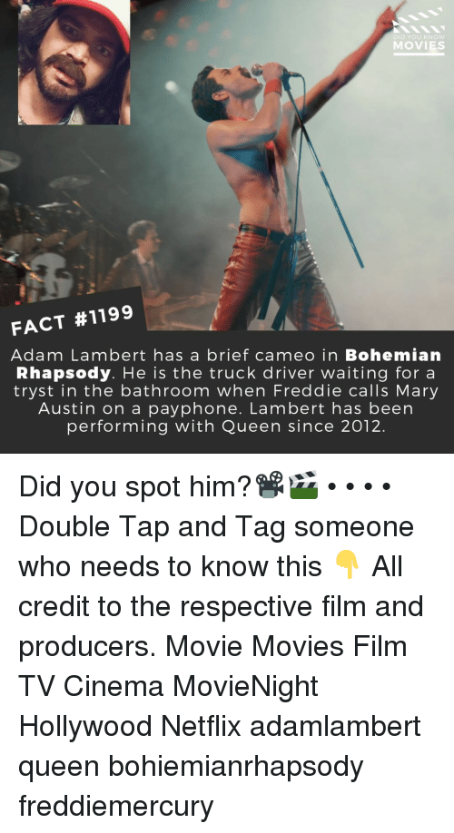 lambert: DID YOU KNow  MOVIES  FACT #1199  Adam Lambert has a brief cameo in Bohemian  Rhapsody. He is the truck driver waiting for a  tryst in the bathroom when Freddie calls Mary  Austin on a payphone. Lambert has been  performing with Queen since 2012. Did you spot him?📽️🎬 • • • • Double Tap and Tag someone who needs to know this 👇 All credit to the respective film and producers. Movie Movies Film TV Cinema MovieNight Hollywood Netflix adamlambert queen bohiemianrhapsody freddiemercury