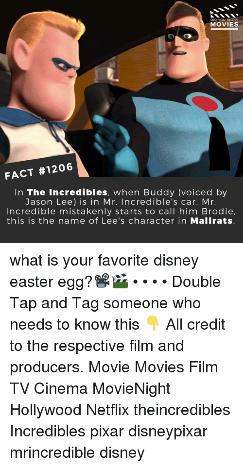 incredibles: DID YOU KNOW  MOVIES  FACT #1206  In The Incredibles, when Buddy (voiced by  Jason Lee) is in Mr. Incredible's car, Mr.  ncredible mistakenly starts to call him Brodie,  this is the name of Lee's character in Mallrats what is your favorite disney easter egg?📽️🎬 • • • • Double Tap and Tag someone who needs to know this 👇 All credit to the respective film and producers. Movie Movies Film TV Cinema MovieNight Hollywood Netflix theincredibles Incredibles pixar disneypixar mrincredible disney