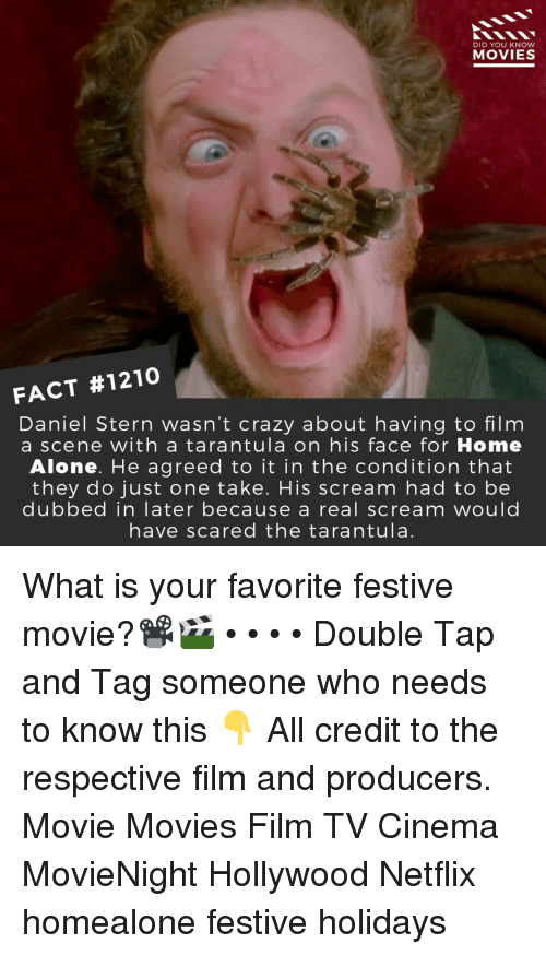 tarantula: DID YOU KNOW  MOVIES  FACT #1210  Daniel Stern wasn't crazy about having to film  a scene with a tarantula on his face for Home  Alone. He agreed to it in the condition that  they do just one take. His scream had to be  dubbed in later because a real scream would  have scared the tarantula. What is your favorite festive movie?📽️🎬 • • • • Double Tap and Tag someone who needs to know this 👇 All credit to the respective film and producers. Movie Movies Film TV Cinema MovieNight Hollywood Netflix homealone festive holidays