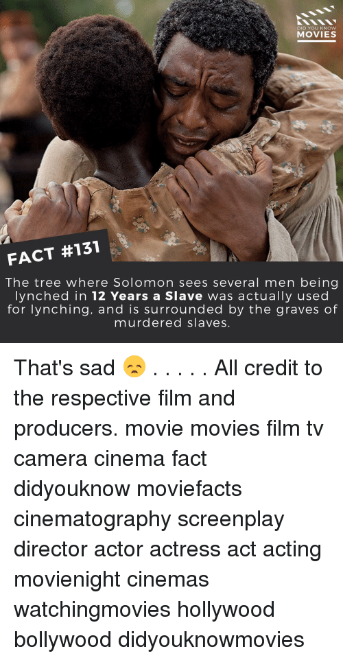 knowing movie: DID YOU KNOW  MOVIES  FACT #131  The tree where Solomon sees several men being  lynched in 12 Years a Slave was actually used  for lynching, and is surrounded by the graves of  murdered slaves. That's sad 😞 . . . . . All credit to the respective film and producers. movie movies film tv camera cinema fact didyouknow moviefacts cinematography screenplay director actor actress act acting movienight cinemas watchingmovies hollywood bollywood didyouknowmovies
