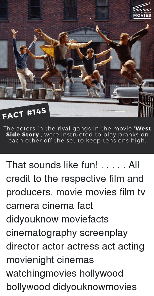 """knowing movie: DID YOU KNOW  MOVIES  FACT #145  The actors in the rival gangs in the movie """"West  Side Story, were instructed to play pranks on  each other off the set to keep tensions high That sounds like fun! . . . . . All credit to the respective film and producers. movie movies film tv camera cinema fact didyouknow moviefacts cinematography screenplay director actor actress act acting movienight cinemas watchingmovies hollywood bollywood didyouknowmovies"""