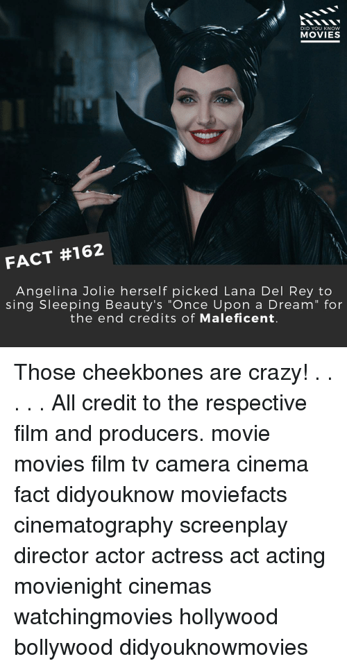 "maleficent: DID YOU KNOW  MOVIES  FACT #162  Angelina Jolie herself picked Lana Del Rey to  sing Sleeping Beauty's ""Once Upon a Dream"" for  the end credits of Maleficent. Those cheekbones are crazy! . . . . . All credit to the respective film and producers. movie movies film tv camera cinema fact didyouknow moviefacts cinematography screenplay director actor actress act acting movienight cinemas watchingmovies hollywood bollywood didyouknowmovies"